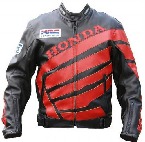 Мотокуртка PU Honda RC со встроенной защитой (черный-красный)